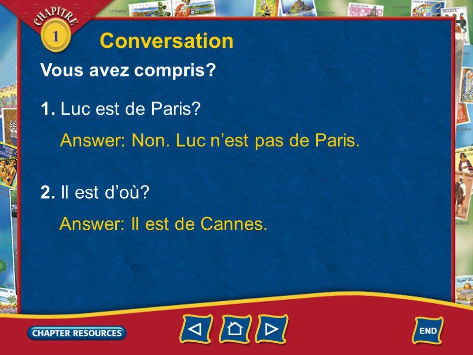 Conversation Vous avez compris 1. Luc est de Paris