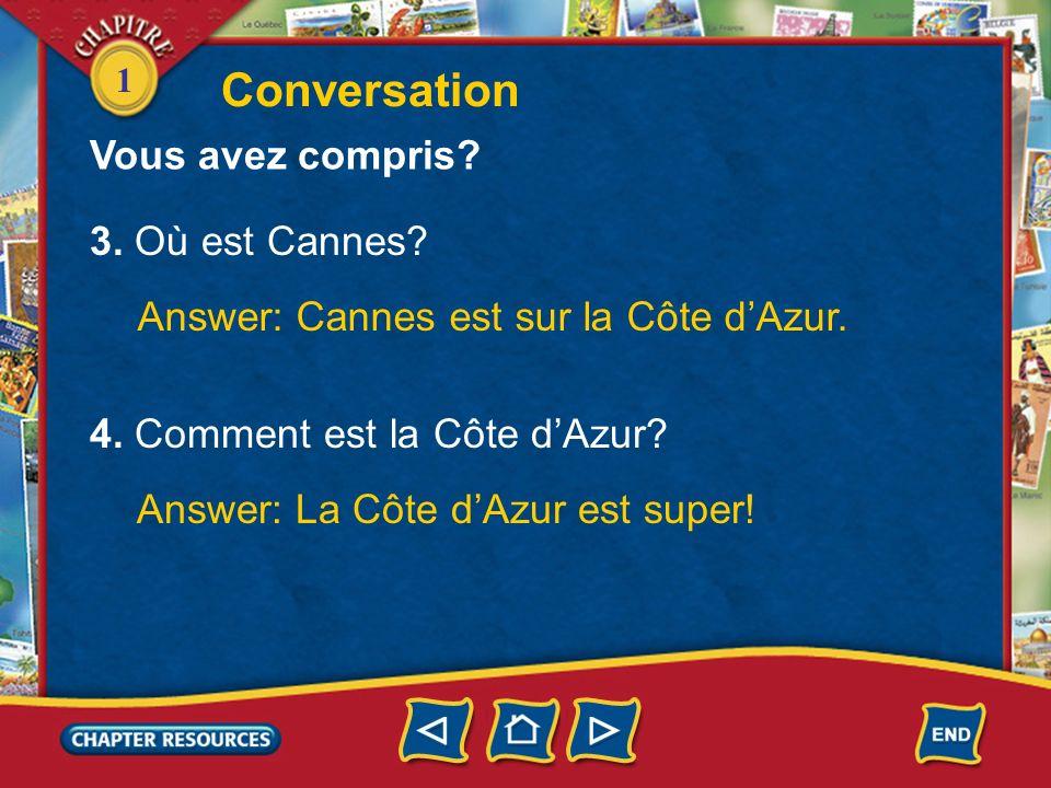 Conversation Vous avez compris 3. Où est Cannes