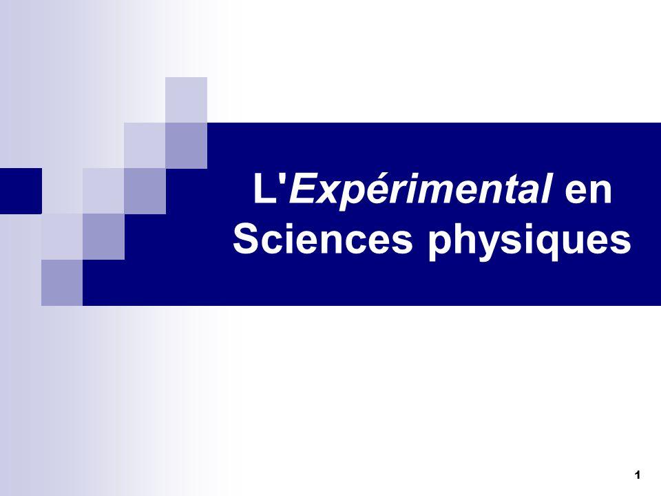 L Expérimental en Sciences physiques