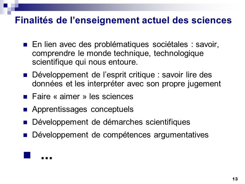 Finalités de l'enseignement actuel des sciences