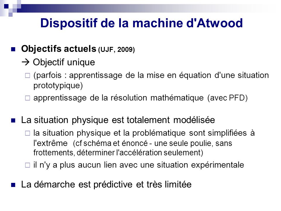 Dispositif de la machine d Atwood