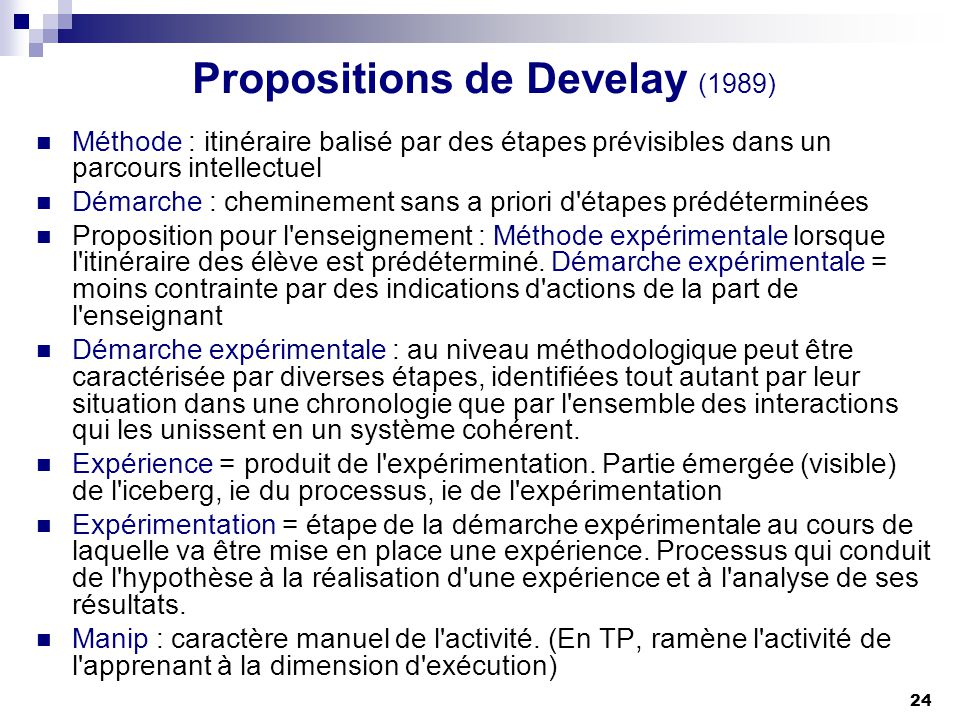 Propositions de Develay (1989)