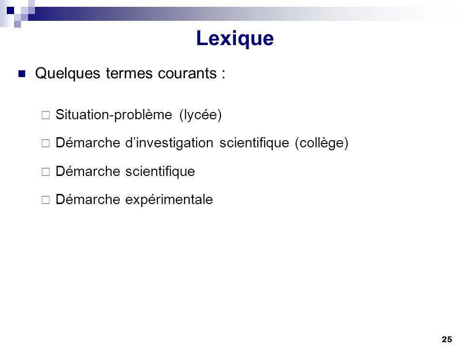 Lexique Quelques termes courants : Situation-problème (lycée)