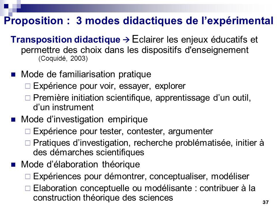 Proposition : 3 modes didactiques de l'expérimental