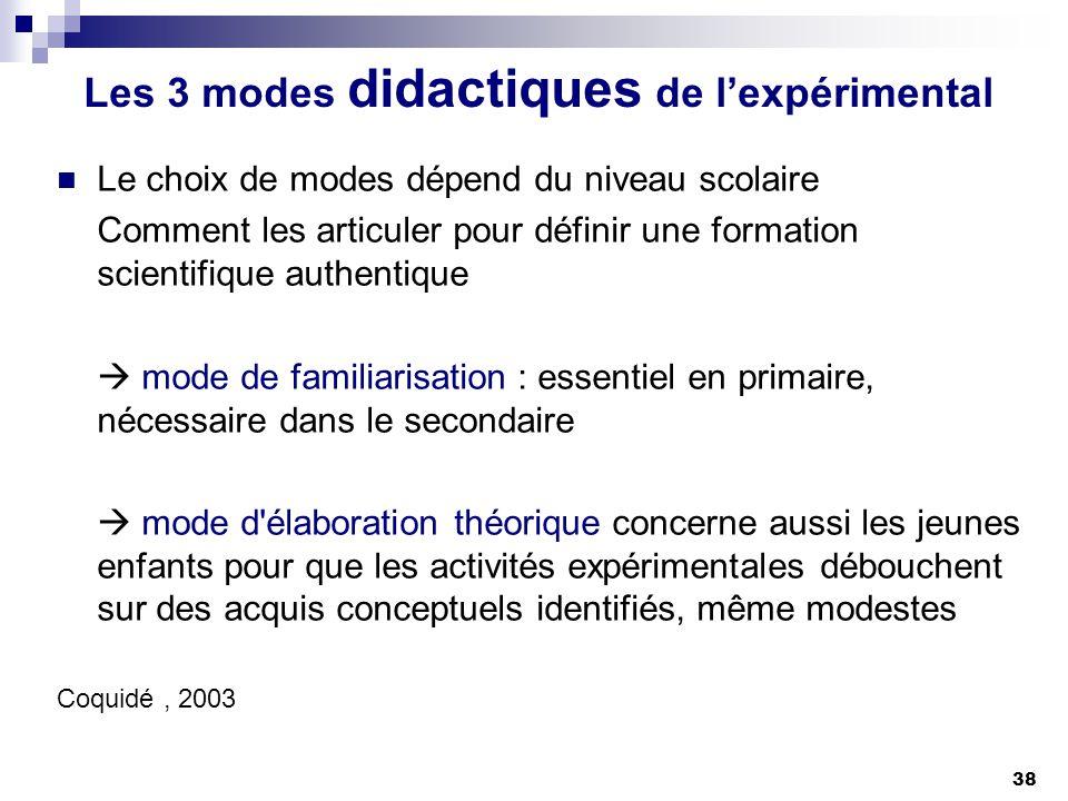Les 3 modes didactiques de l'expérimental