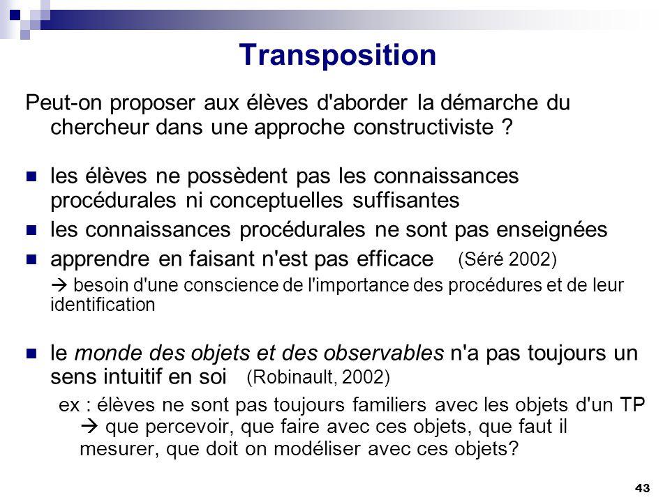 Transposition Peut-on proposer aux élèves d aborder la démarche du chercheur dans une approche constructiviste