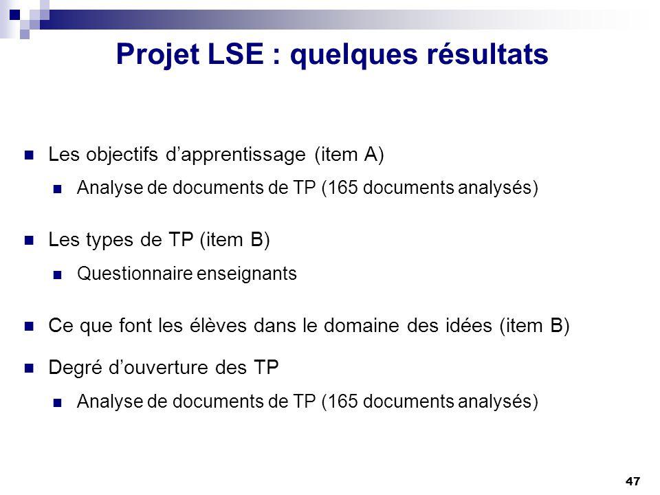 Projet LSE : quelques résultats