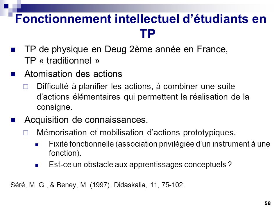 Fonctionnement intellectuel d'étudiants en TP