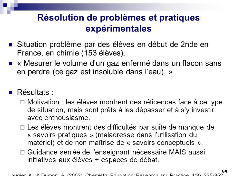Résolution de problèmes et pratiques expérimentales