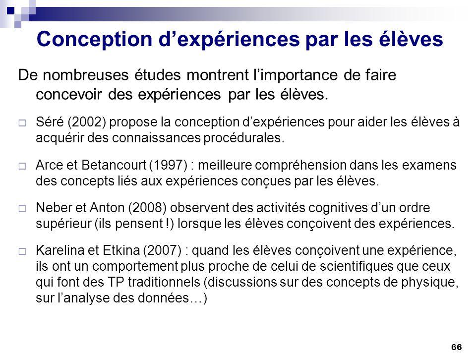 Conception d'expériences par les élèves