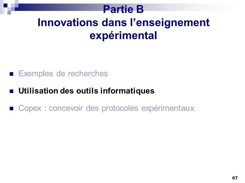 Partie B Innovations dans l'enseignement expérimental
