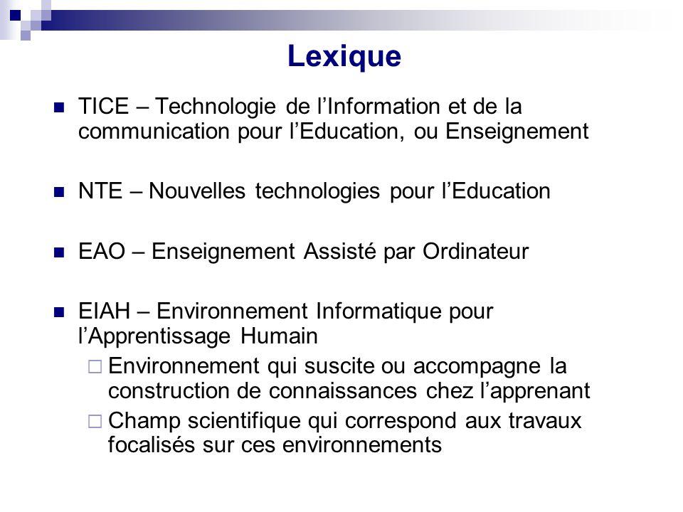 Lexique TICE – Technologie de l'Information et de la communication pour l'Education, ou Enseignement.