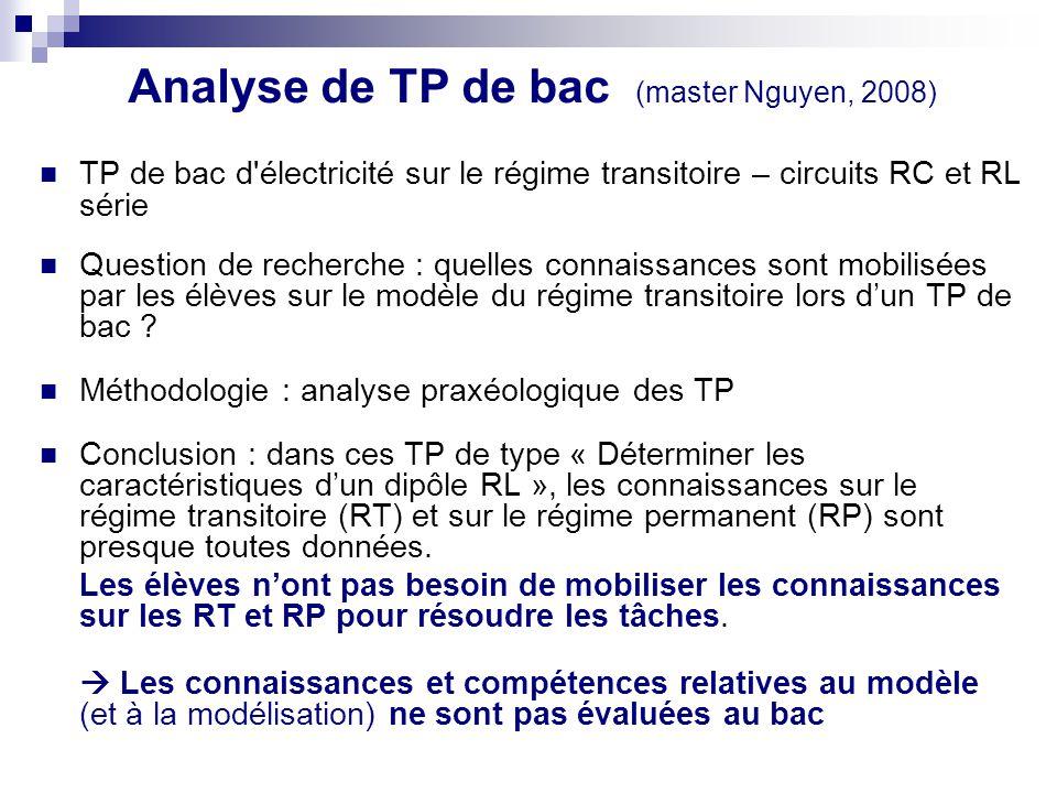 Analyse de TP de bac (master Nguyen, 2008)