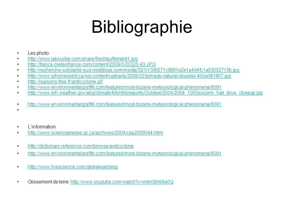 Bibliographie Les photo: