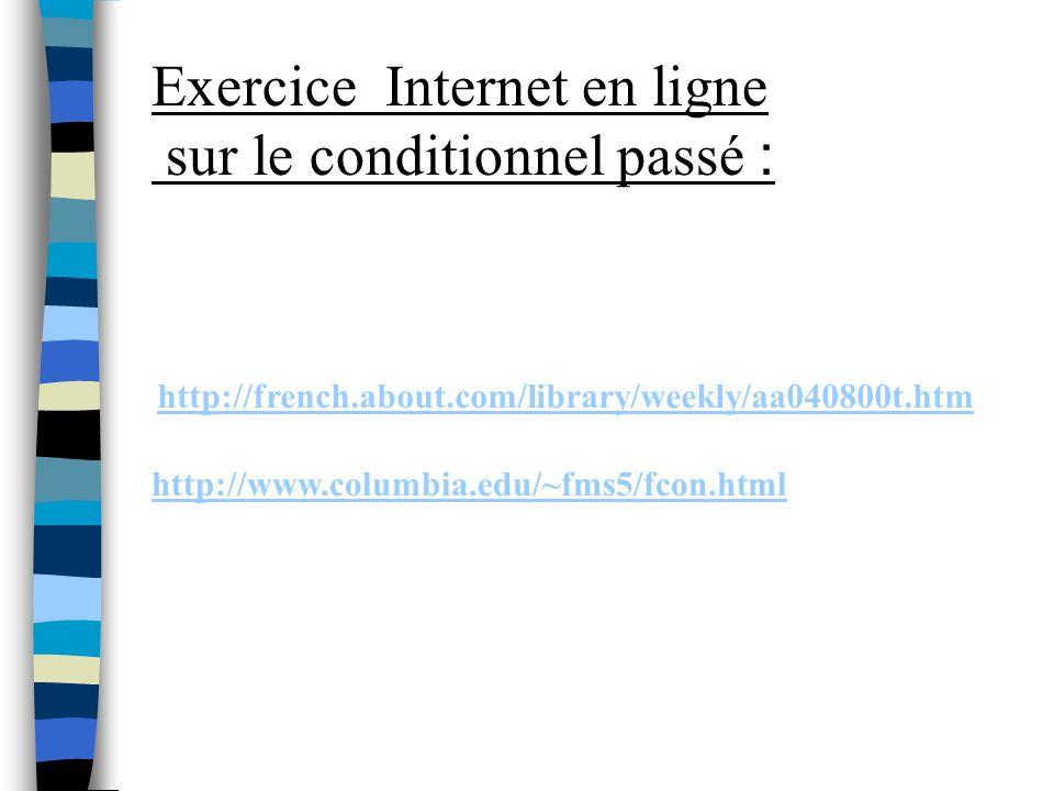 Exercice Internet en ligne sur le conditionnel passé :