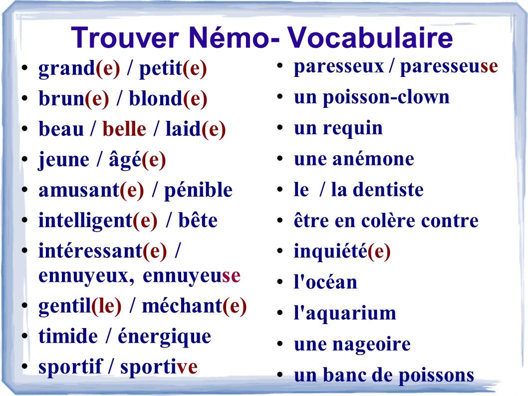 Trouver Némo- Vocabulaire