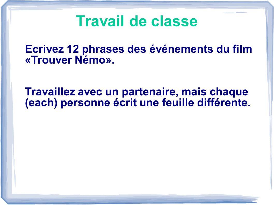 Travail de classe Ecrivez 12 phrases des événements du film «Trouver Némo».