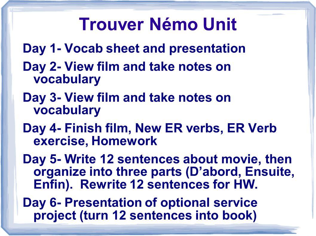 Trouver Némo Unit Day 1- Vocab sheet and presentation