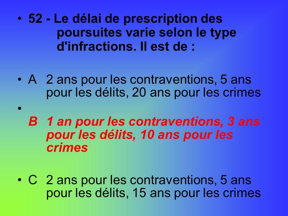 52 - Le délai de prescription des. poursuites varie selon le type