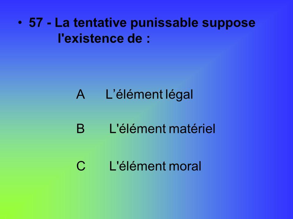 57 - La tentative punissable suppose l existence de :