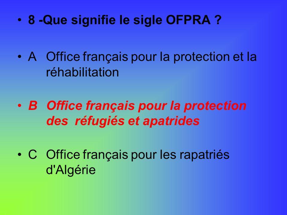 8 -Que signifie le sigle OFPRA