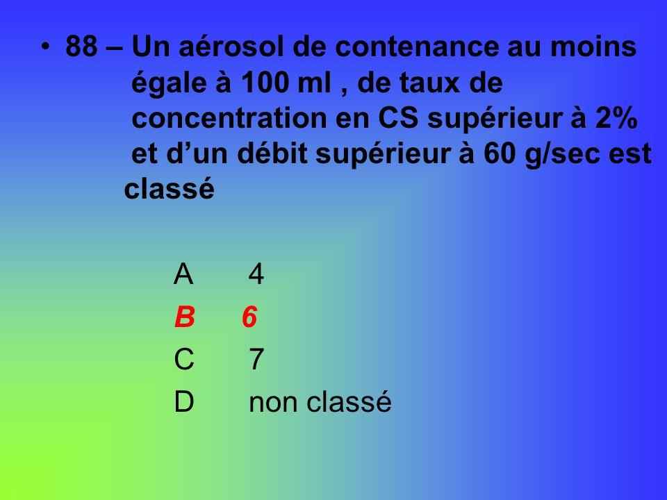 88 – Un aérosol de contenance au moins. égale à 100 ml , de taux de