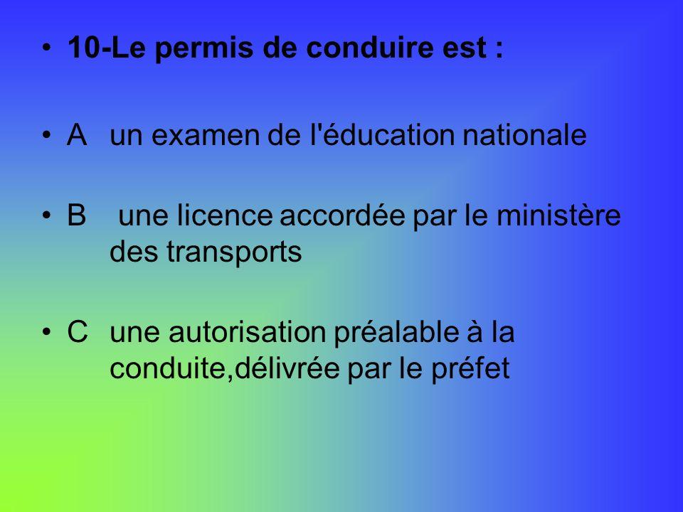 10-Le permis de conduire est :