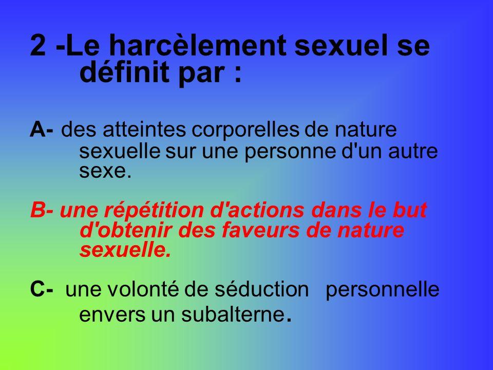 2 -Le harcèlement sexuel se