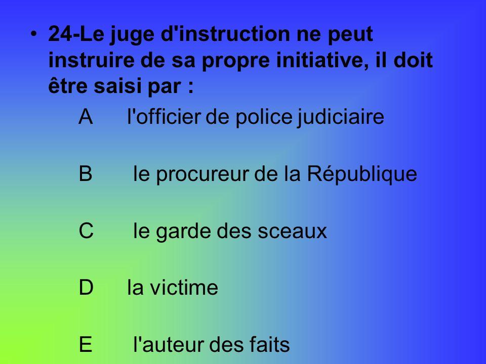 24-Le juge d instruction ne peut instruire de sa propre initiative, il doit être saisi par :