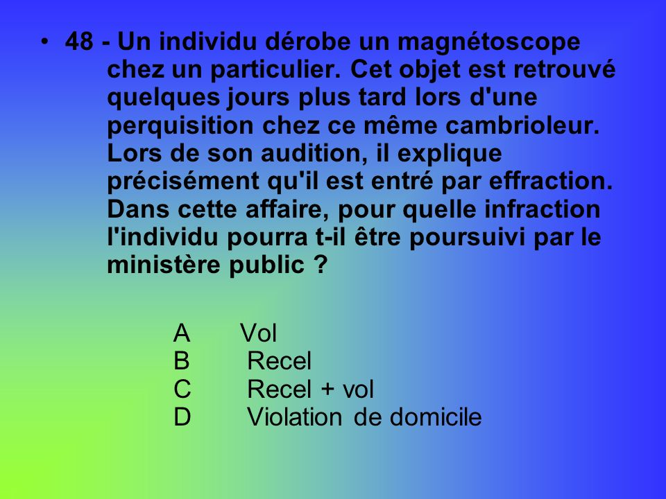 48 - Un individu dérobe un magnétoscope. chez un particulier