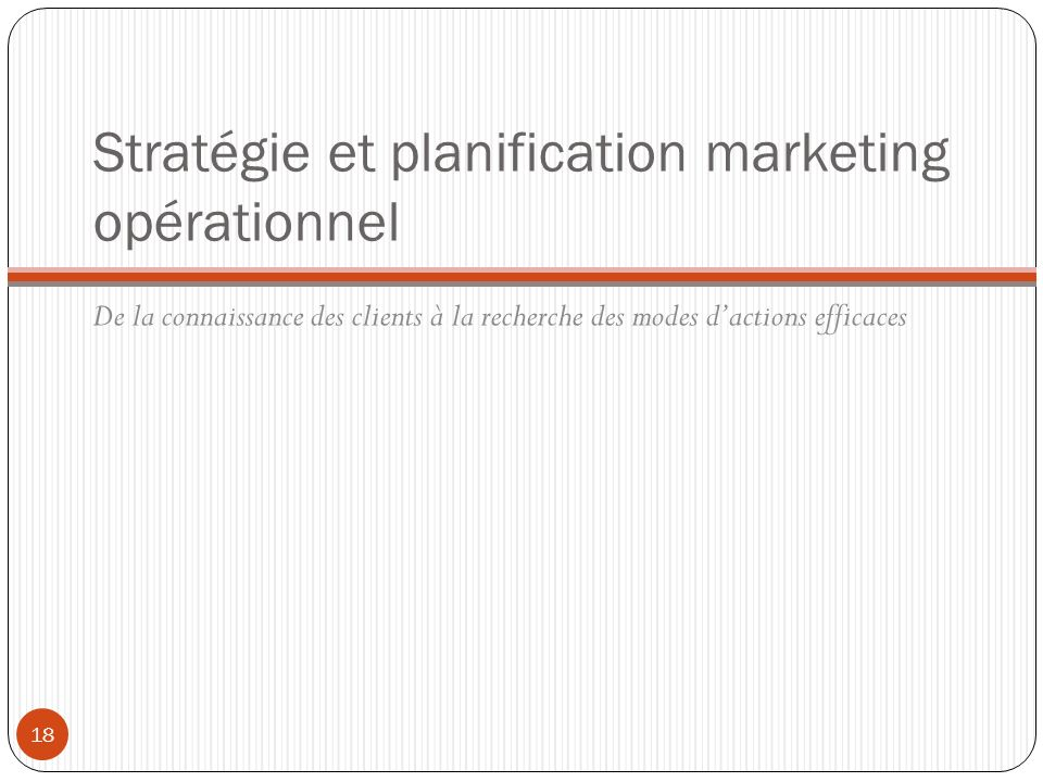 Stratégie et planification marketing opérationnel
