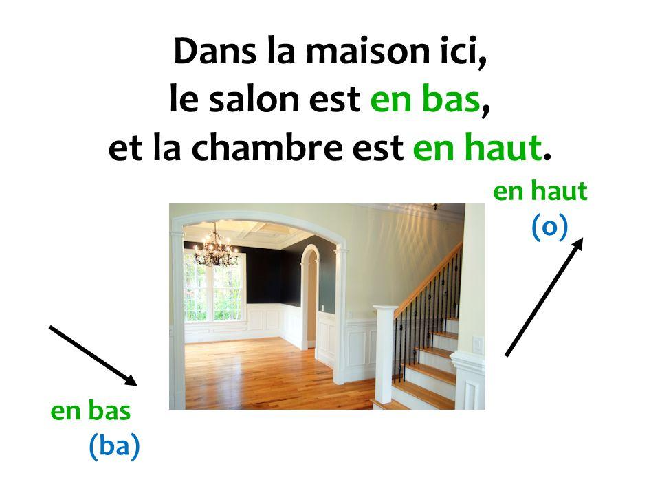 Dans la maison ici, le salon est en bas, et la chambre est en haut.