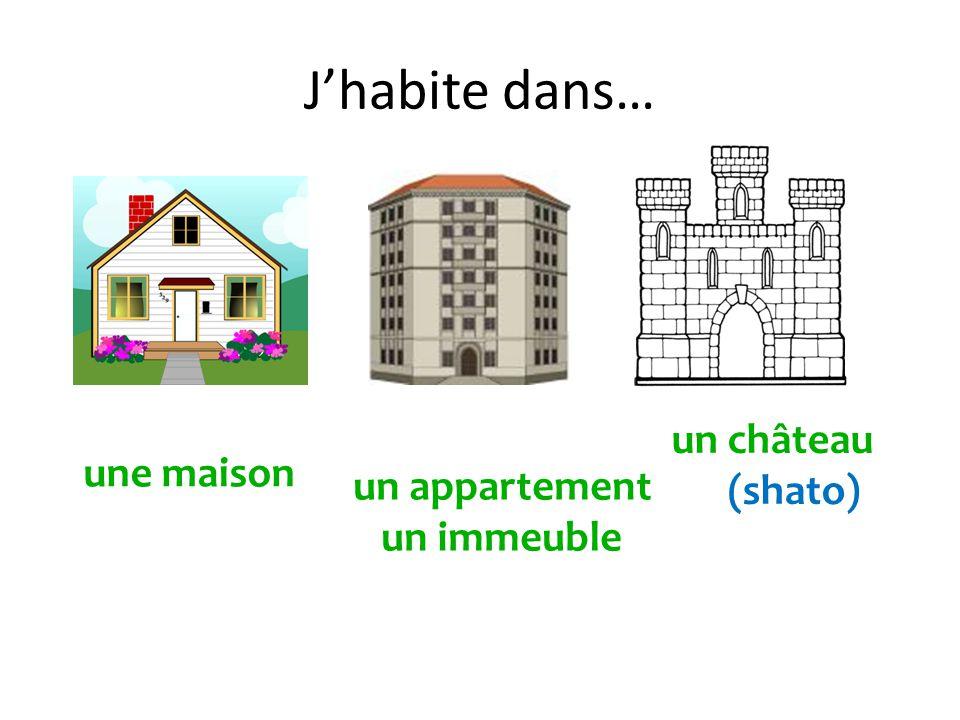 J'habite dans… un château (shato) une maison un appartement