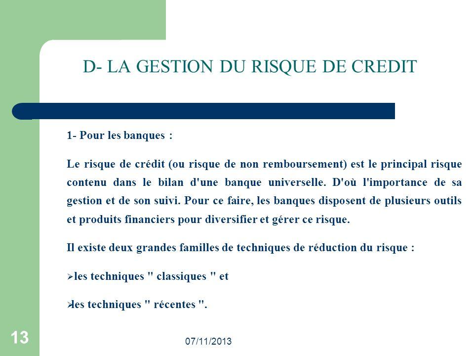 D- LA GESTION DU RISQUE DE CREDIT