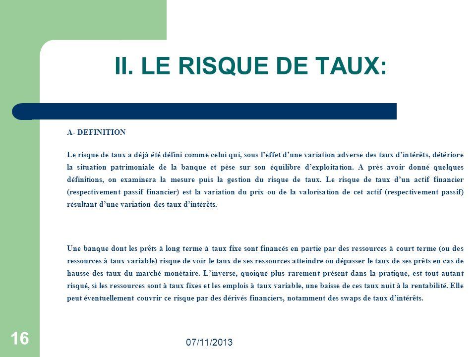 II. LE RISQUE DE TAUX: 16 25/03/2017 A- DEFINITION