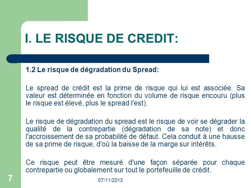 I. LE RISQUE DE CREDIT: 7 1.2 Le risque de dégradation du Spread:
