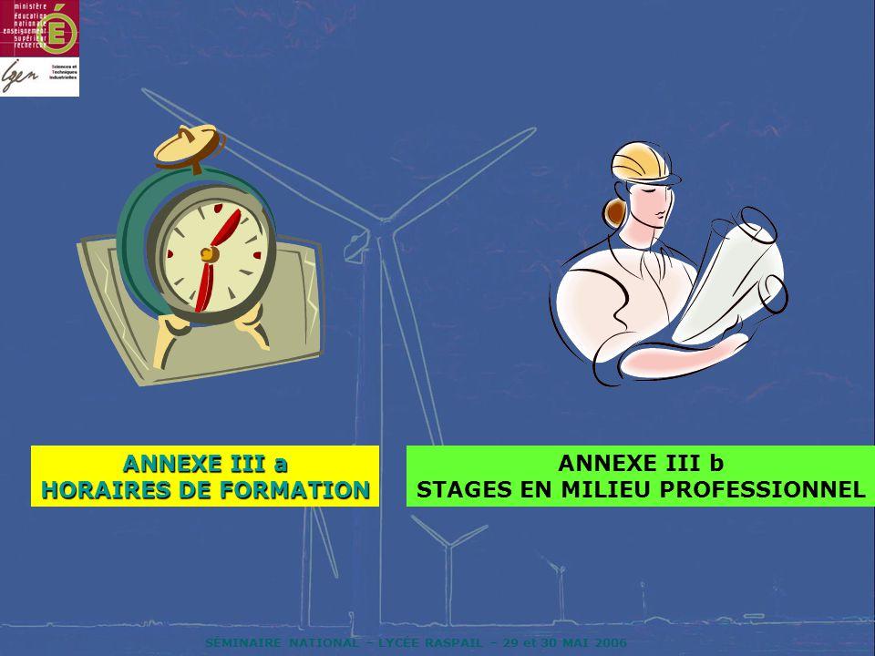 ANNEXE III a HORAIRES DE FORMATION STAGES EN MILIEU PROFESSIONNEL