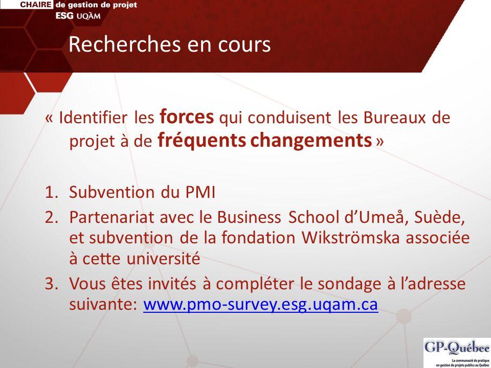 Recherches en cours« Identifier les forces qui conduisent les Bureaux de projet à de fréquents changements »