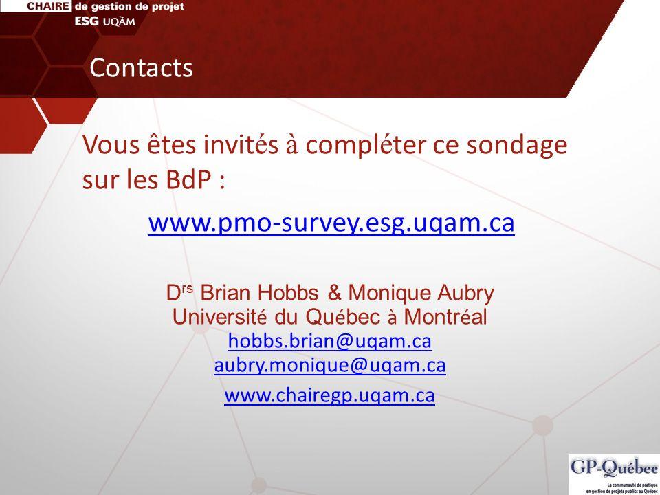 Vous êtes invités à compléter ce sondage sur les BdP :