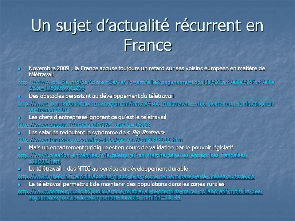 Un sujet d'actualité récurrent en France