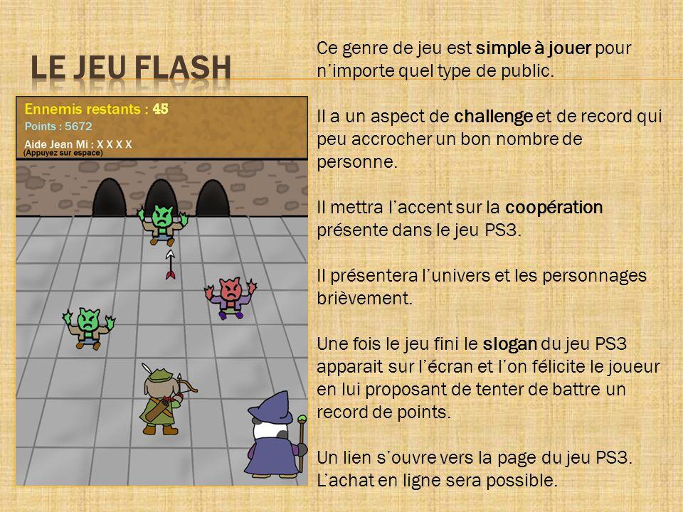 LE JEU FLASH Ce genre de jeu est simple à jouer pour n'importe quel type de public.