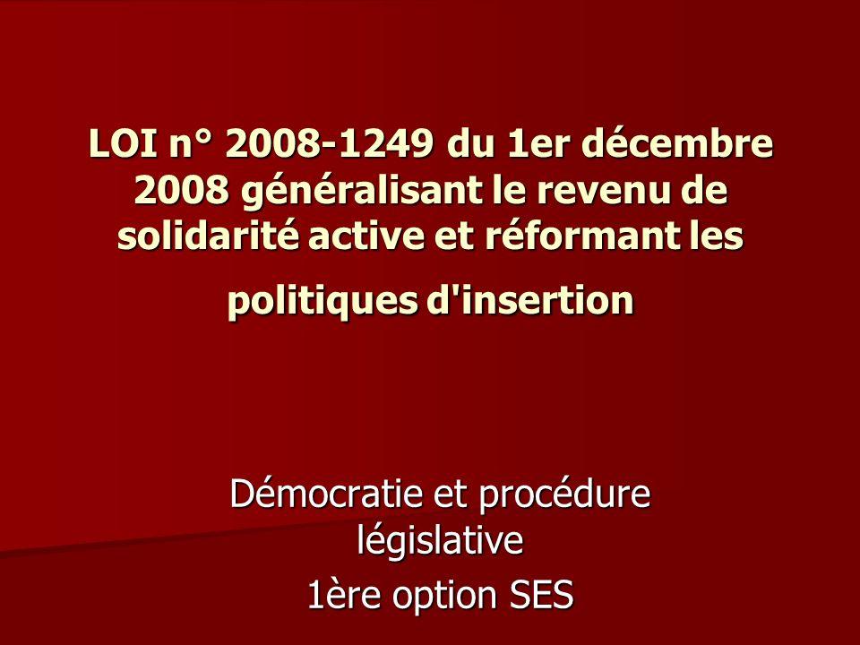 Démocratie et procédure législative 1ère option SES