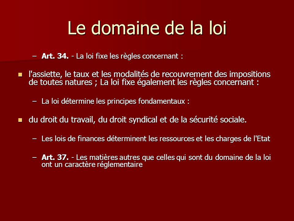 Le domaine de la loiArt. 34. - La loi fixe les règles concernant :