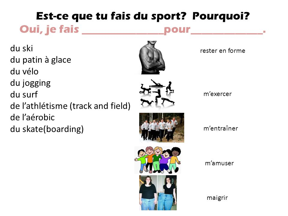 Est-ce que tu fais du sport Pourquoi