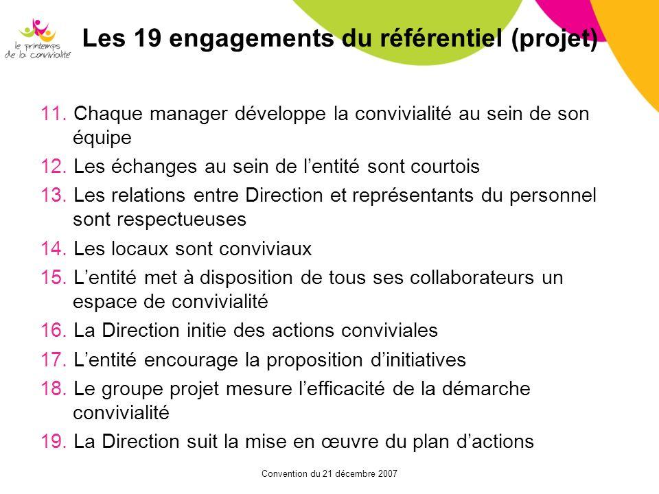 Les 19 engagements du référentiel (projet)