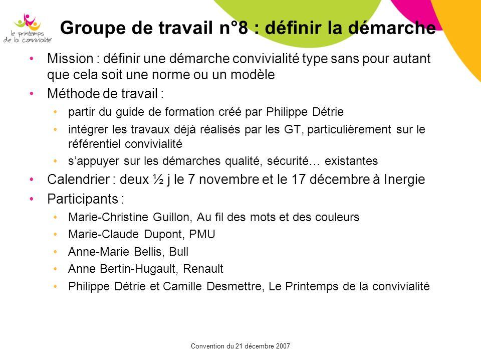 Groupe de travail n°8 : définir la démarche