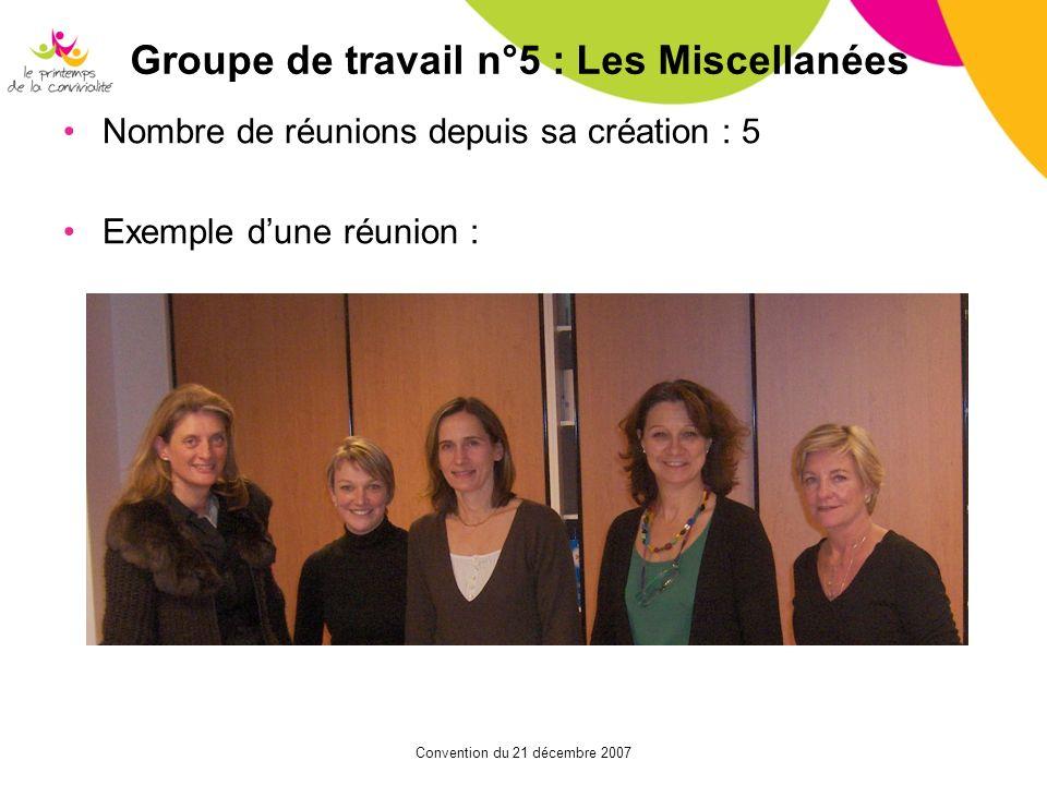 Groupe de travail n°5 : Les Miscellanées