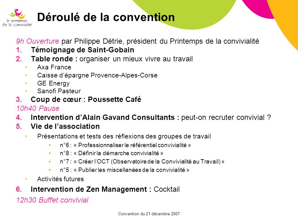 Déroulé de la convention