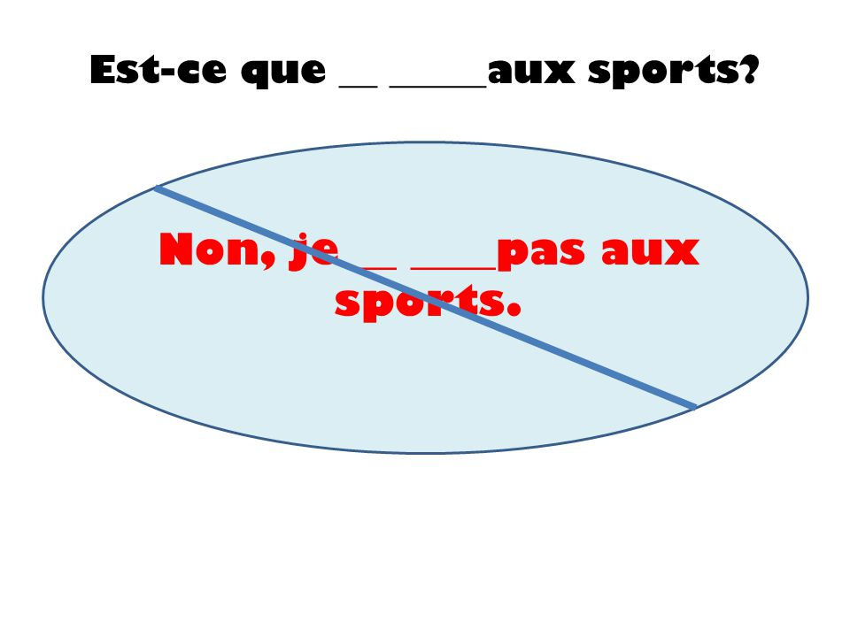 Non, je __ ____pas aux sports.