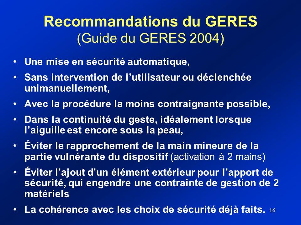 Recommandations du GERES (Guide du GERES 2004)
